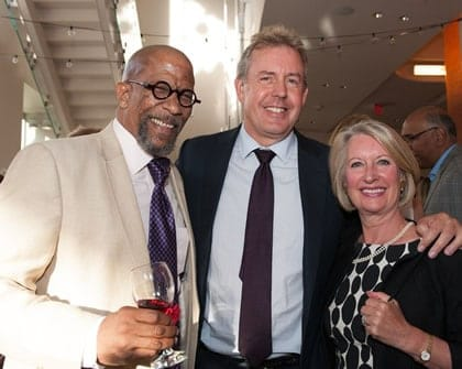 (L to R) Actor Reg E. Cathey with British Ambassador to the United States Kim Darroch and Lady Vanessa Darroch pre-show for Heavy Lies the Head (Photo: Margot Schulman)