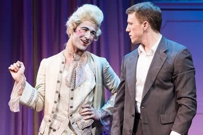 DJ Petrosino as Jacob and Paul Scanlan as Jean-Michel in La Cage Aux Folles at Signature Theatre (Photo: Christopher Mueller)