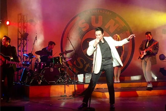 (l-r) Austin Wayne Price, Chris Karabelas, Travis Artz, Bella Muller and James Bock in Million Dollar Quartet at Infinity Theatre Photo: Jimmy Lawlor)