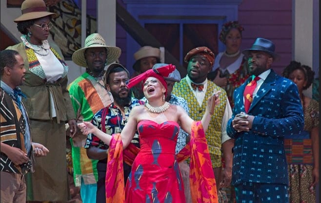 Alyson Cambridge as Bess  in Porgy and Bess, Spoleto Festival USA. Set design: Carolyn Mraz (Photo: Julia Lynn Photography)
