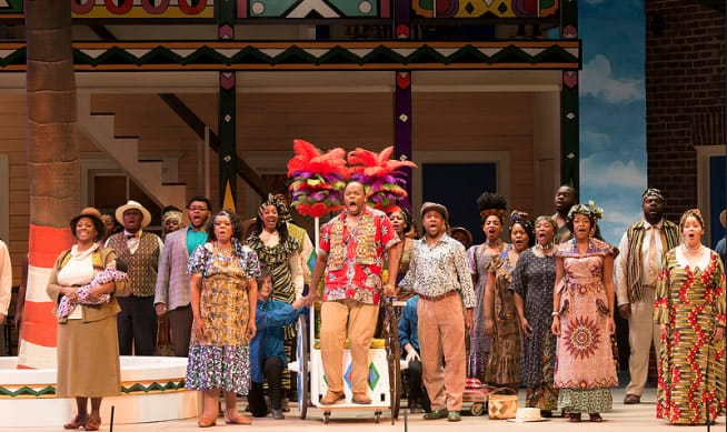 (center) Lester Lynch as Porgy and the cast of Porgy and Bess, Spoleto Festival USA. (Photo: Julia Lynn Photography)