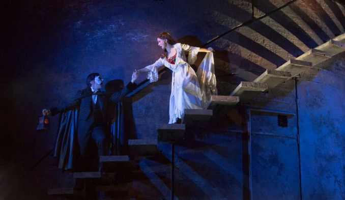 Chris Mann as The Phantom and Katie Travis as Christine Daaé in the national tour of The Phantom of the Opera at the Kennedy Center (Photo: Matthew Murphy)