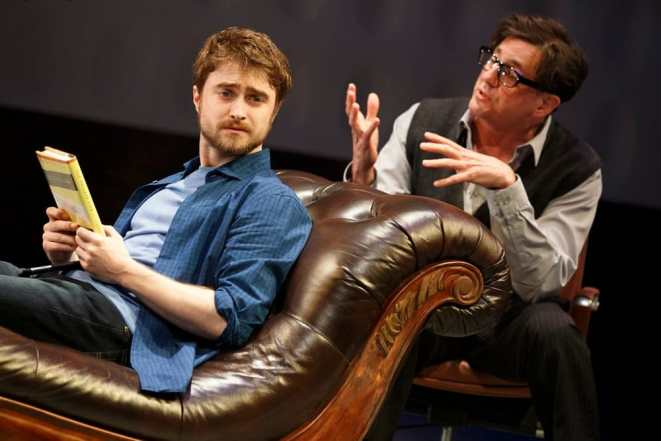 (l-r) Daniel Radcliffe and Reg Rogers in Privacy at the Public Theatre (Photo: Joan Marcus)