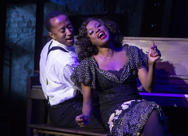 Mark G Meadows as Jelly Roll Morton and Felicia Boswell as Anita in Jelly's Last Jam at Signature Theatre (Photo: Christopher Mueller)