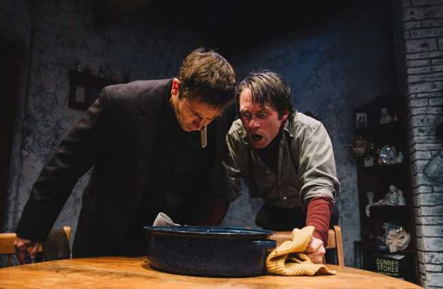 Chris Stezin as Father Welsh and Bradley Foster Smith as Valene in The Lonesome West at Keegan Theatre (Photo: Cameron Whitman Photography)