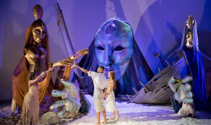 Avery Glymph as Ferdinand, Rachel Mewbron as Miranda and the Ensemble of the Shakespeare Theatre Company production of William Shakespeare's The Tempest (Photo: Scott Suchman)