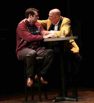 Thomas Keegan as Joe Pittand Mitchell Hébert as Roy Cohn in Round House Theatre and Olney Theatre Center's production of Angels in America Part I: Millennium Approaches. (Photo: Danisha Crosby)