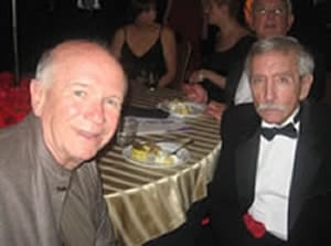 Edward Albee, having received the Helen Hayes Lifetime Achievement Award, with Terrence McNally at the afterparty
