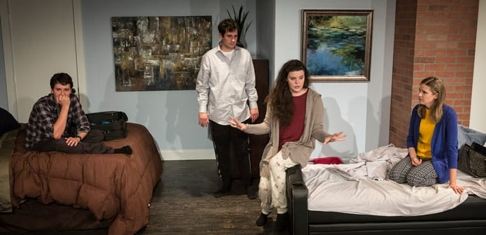 (l-r) Jeremy Myers (as Liam), Matt Lee (as Jonah), Shea-Mikal Green (as Daphna), Julia Becker (as Melody) in Bad Jews at Maryland Ensemble Theatre (Photo: Joseph Williams)