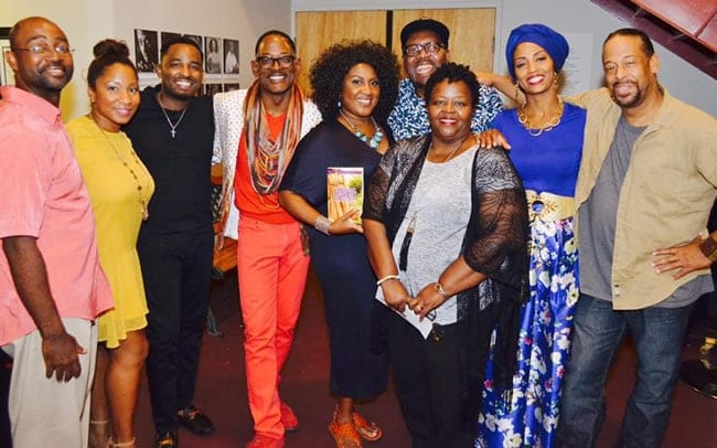 Blackberry Daze creators, William Knowles (far left), Thomas W. Jones II (far right) and Ruth B Watson (center) with the cast at MetroStage (Photo courtesy of MetroStage)