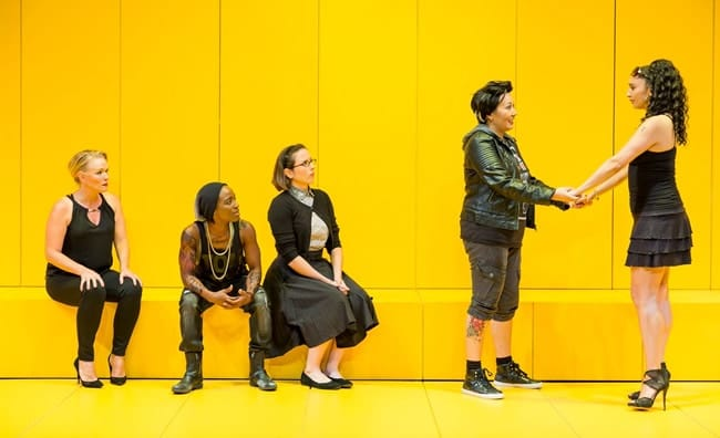 (l-r) Beth Hylton, Felicia Curry, Dorea Schmidt, Kate Rigg, Natascia Diaz in Collective Rage: A Play in Five Boops at Woolly Mammoth Theatre (Photo: Scott Suchman)