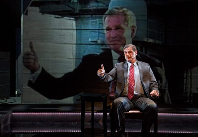 Tony Carlin as George W. Bush in The Trial of an American President (Photo: Ken Nahoum)