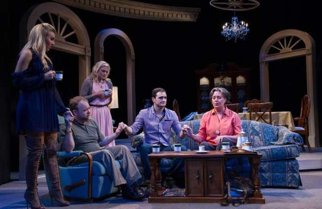 (l-r) Emily Kester, Sasha Olinick, Anne Bowles, Billy Finn, and Barbara Pinolini in The Last Schwartz at Theater J (Photo: C. Stanley Photography)