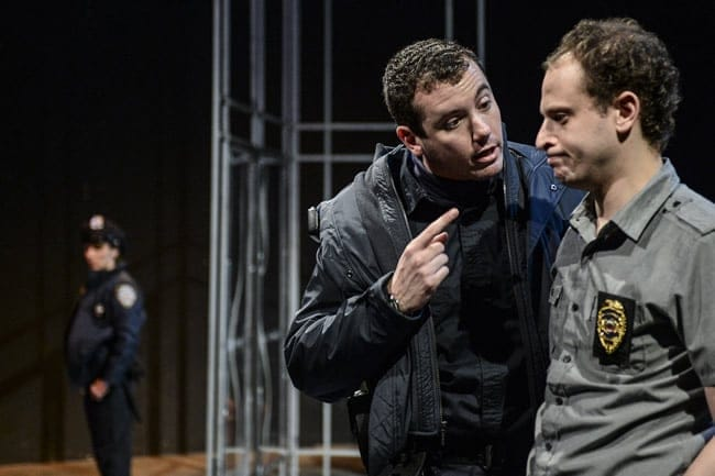"(l to r) Matthew Sparacino and Aaron Bliden in ""Lobby Hero"" at 1st Stage. (Photo: Teresa Castracane)"