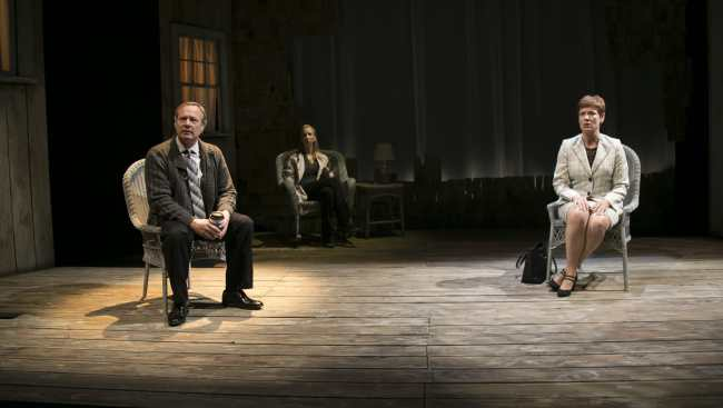 "(l-r) Nigel Reed as ""Ian"", Julie-Ann Elliott as ""Juliana"", and Maggie Robertson as ""The Woman"" in The Other Place at Rep Stage"