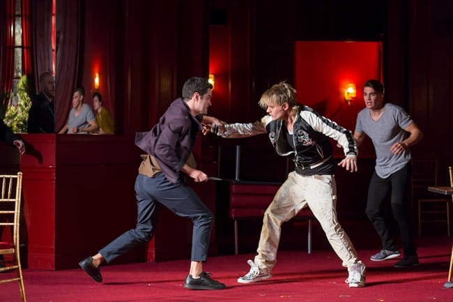 Alex Mickiewicz as Tybalt, Jeffrey Carlson as Mercutio and Andrew Veenstra as Romeo in Shakespeare Theatre Company's production of Romeo and Juliet (Photo: Scott Suchman)