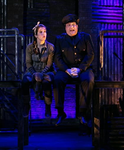 Jenna Berk and Matt Dewberry in Constellation Theatre's Urinetown: The Musical (Photo: Daniel Schwartz)
