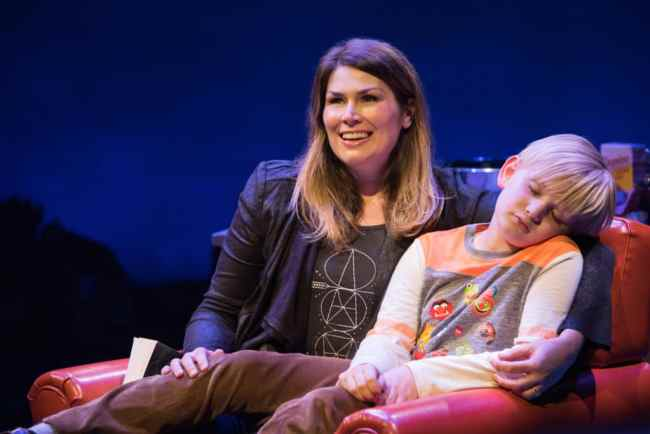 Heidi Blickenstaff (Katherine Blake) and Jake Heston Miller (Fletcher Blake) in Disney's Freaky Friday at Signature Theatre (Photo: Margot Schulman)
