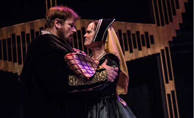 Ron Heneghan as King Henry VIII and Lizzi Albert is Anne Boleyn in Anne of the Thousand Days at Chesapeake Shakespeare (Photo: Teresa Castracane)