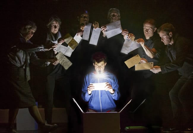 Adam Langdon, and the cast of the touring production of The Curious Incident of the Dog in the Night-Time (Photo: Joan Marcus)