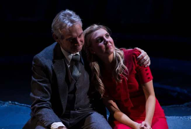 Michael Kramer (left) plays father figure to Emily Kester in Sarah Ruhl's Eurydice at NextStop Theatre (Photo: Traci J. Brooks Studios)
