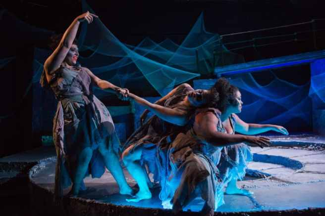 (l-r) Briana Manente, Charlene V. Smith, and Tamieka Chavis as The Stones in Sarah Ruhl's Eurydice at NextStop Theatre (Photo: Traci J. Brooks Studios)