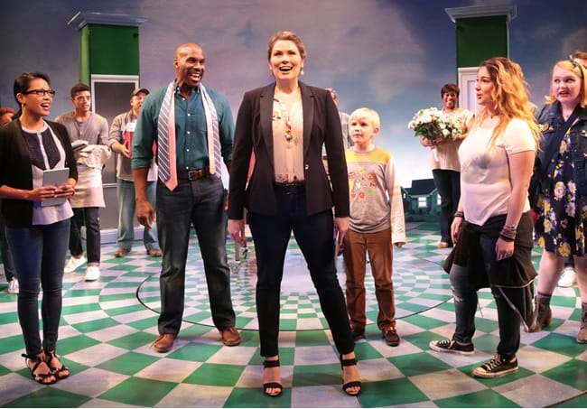 Heidi Blickenstaff (Katherine Blake) and the cast of Disney's Freaky Friday at Signature Theatre (Photo: Margot Schulman)