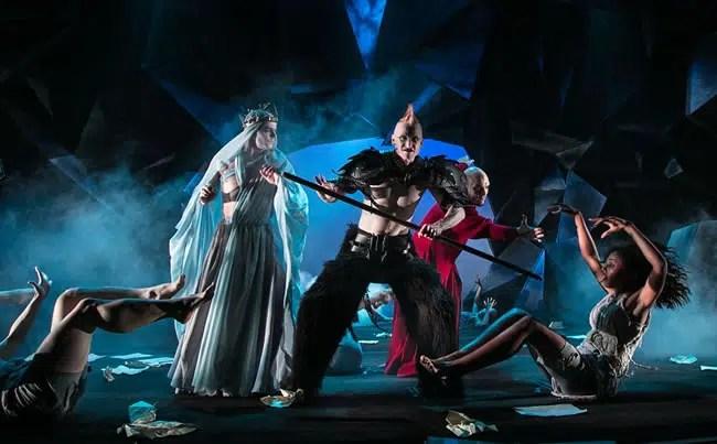 Alex Mills (Virgil), Philip Fletcher (Demon), Vato Tsikurishvili (Dante) and Lauren Ashley (Soul) in