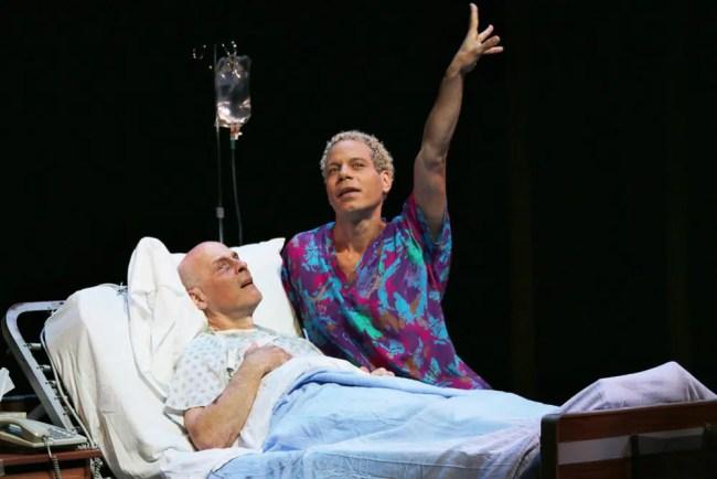Mitchell Hebert (Roy Cohn) and Jon Hudson Odom (Belize) in Angels in America Part II: Perestroika. (Photo: Danisha Crosby)