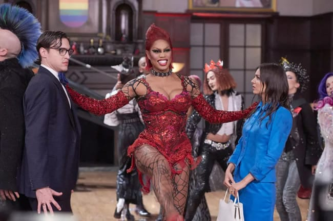 (l) Ryan McCarten as Brad,) and (r) Victoria Justice as Brad. (center) Laverne Cox as Dr. Frank N Furtner in Fox's Rocky Horror Picture Show