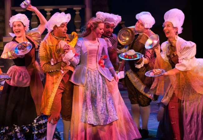 (l-r) Sarah Anne Sillers, Jobari Parker-Namdar, Jessica Lauren Ball, Ian Anthony Coleman, Matt Dewberry, Maggie Robertson in Disney's Beauty and the Beast at Imagination Stage (Photo: Margot Schulman)