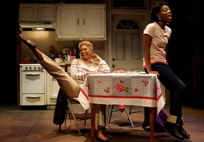 Diedra LaWan Starnes as Myrna and Kashayna Johnson as Annie in Milk Like Sugar at Mosaic Theater Company of DC (Photo: Ryan Maxwell)