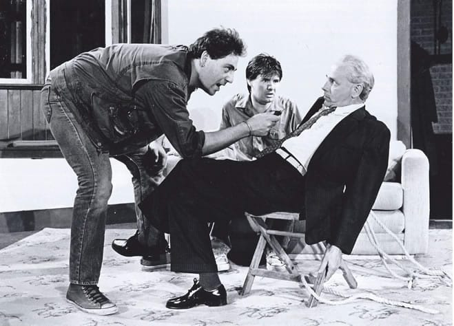Brian Hemmingsen, Christopher Henley, and Richard Mancini, in Orphans from Moving Target Theatre Company, 1988 (Phoeo: Ian Armstrong)