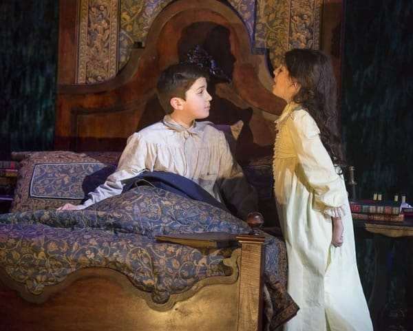 Henry Baratz as Colin Craven and Anya Rothman as Mary Lennox in The Secret Garden from Shakespeare Theatre Company. (Photo: Scott Suchman)