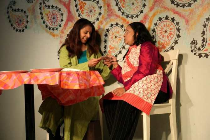 Nayab Hussain as Shafana and Meera Narasimhan as Sarrinah in Soft Revolution at Venus Theatre (Photo: Curtis Jordan)