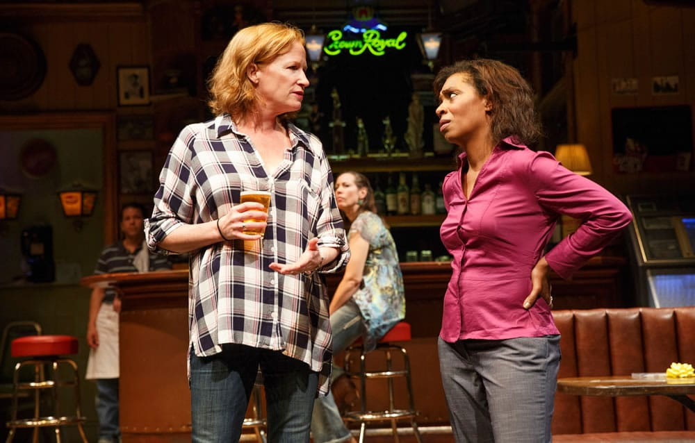 Johanna Day and Michelle Wilson (foreground), and Carlo Albán and Miriam Shor in Sweat, written by Lynn Nottage and directed by Kate Whoriskey, running at The Public Theater. (Photo: Joan Marcus)