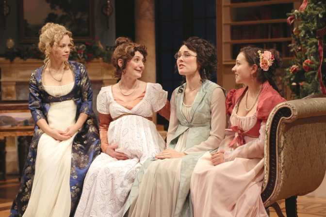 (l-r) Erin Weaver (Elizabeth Darcy), Katie deBuys (Jane Bingley), Katie Kleiger (Mary Bennet), and Miranda Rizzolo (Lydia Wickham) in Round House Theatre's Miss Bennet: Christmas at Pemberley. (Photo: Grace Toulotte)