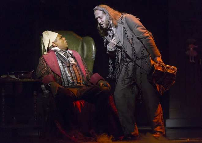 (l-r) Craig Wallace as Ebenezer Scrooge and James Konicek as Jacob Marley in the 2016 Ford's Theatre production of A Christmas Carol. (Photo by Scott Suchman)