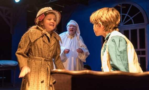 Libby Brooke, David Schmidt, and James Durham in Christmas Carol Memory at Creative Cauldron (Photo Gary Mester)