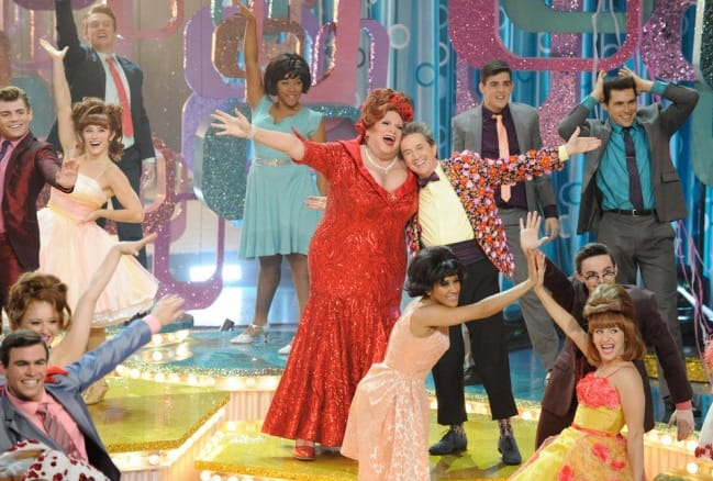 (center) Harvey Fierstein as Edna Turnblatt and Martin Short as in Hairspray Live! (Photo: Colleen Hayes/NBC)