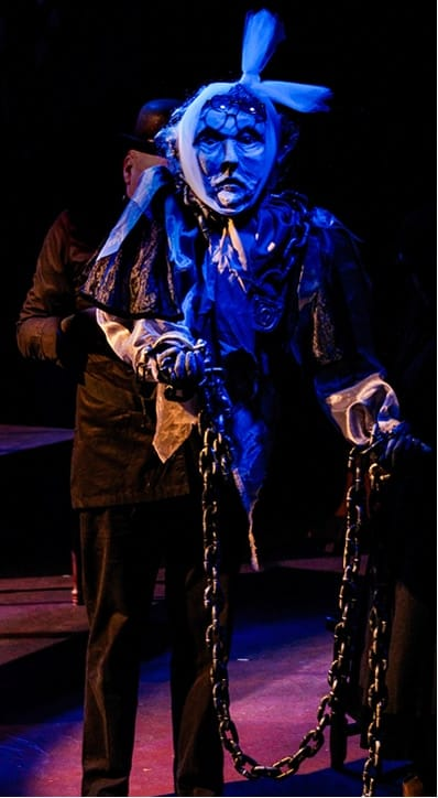Marley's ghost puppet at A Christmas Carol Memory, Creative Cauldron (Photo: Noah Taylor(