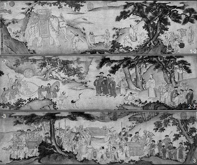 """Bức """"tranh vẽTrúc Lâm Đại Sĩxuống núi"""" - 3 khung ngàn dduojc xếp lại theo chiều dọc để minh họa. Nguồn: Wikipedia.org"""