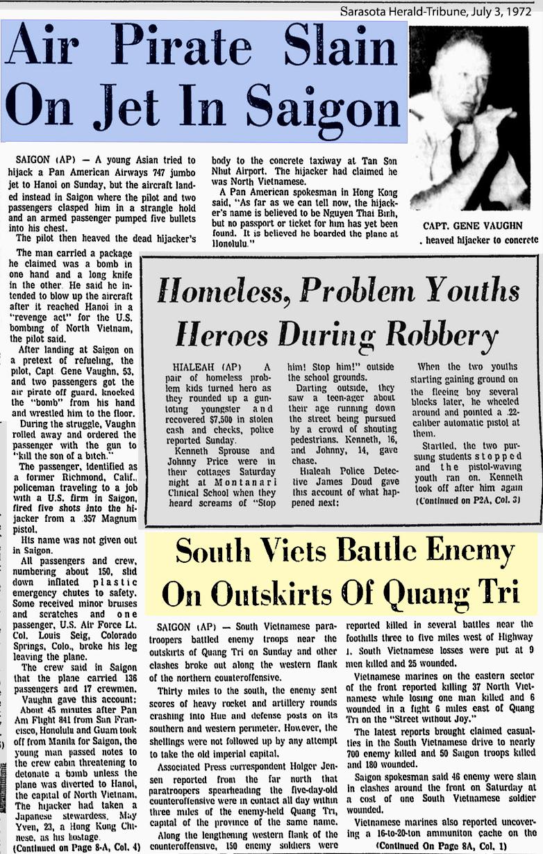 Một trong nhiều bản tin cướp máy bay ngày 3 tháng 7, 1972 đăng trên báo chí Mỹ cùng lúc với tin chiến trường Quảng Trị.  Nguồn: Sarasota Herald-Tribune, July 3, 1972.