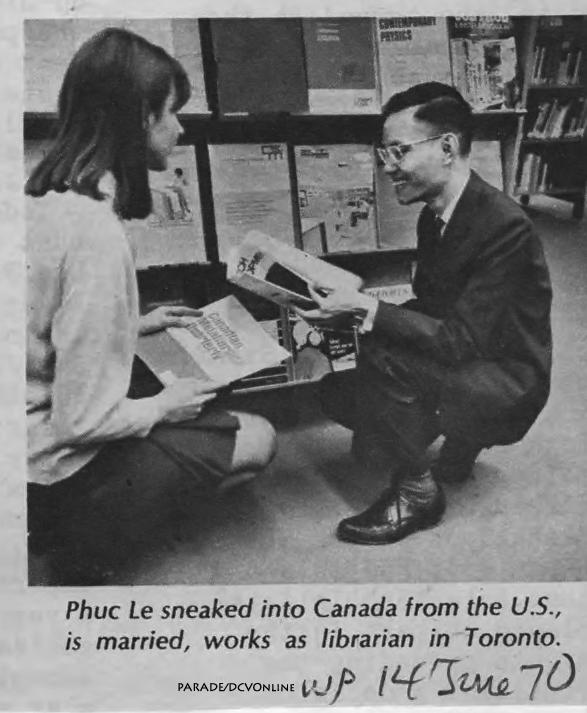 Lê Phúc công chức đào nhiệm trốn từ Mỹ qua Canada. Nguồn Washington Post, 14 tháng 67, 1970.