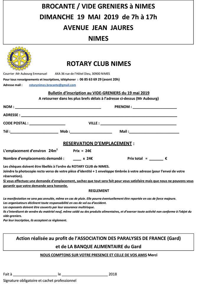 dimanche 19 mai a partir de 9h00 brocante rotary club nimes apf france handicap gard le blog d information