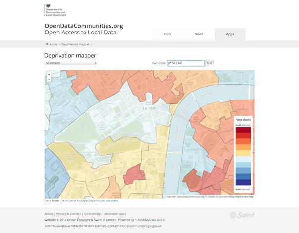 Screenshot of Deprivation mapper