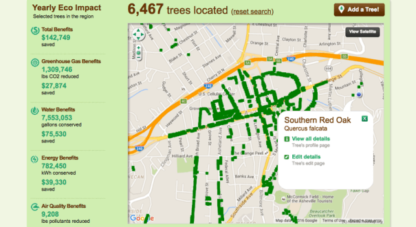 A map with dots along streets where trees are located.