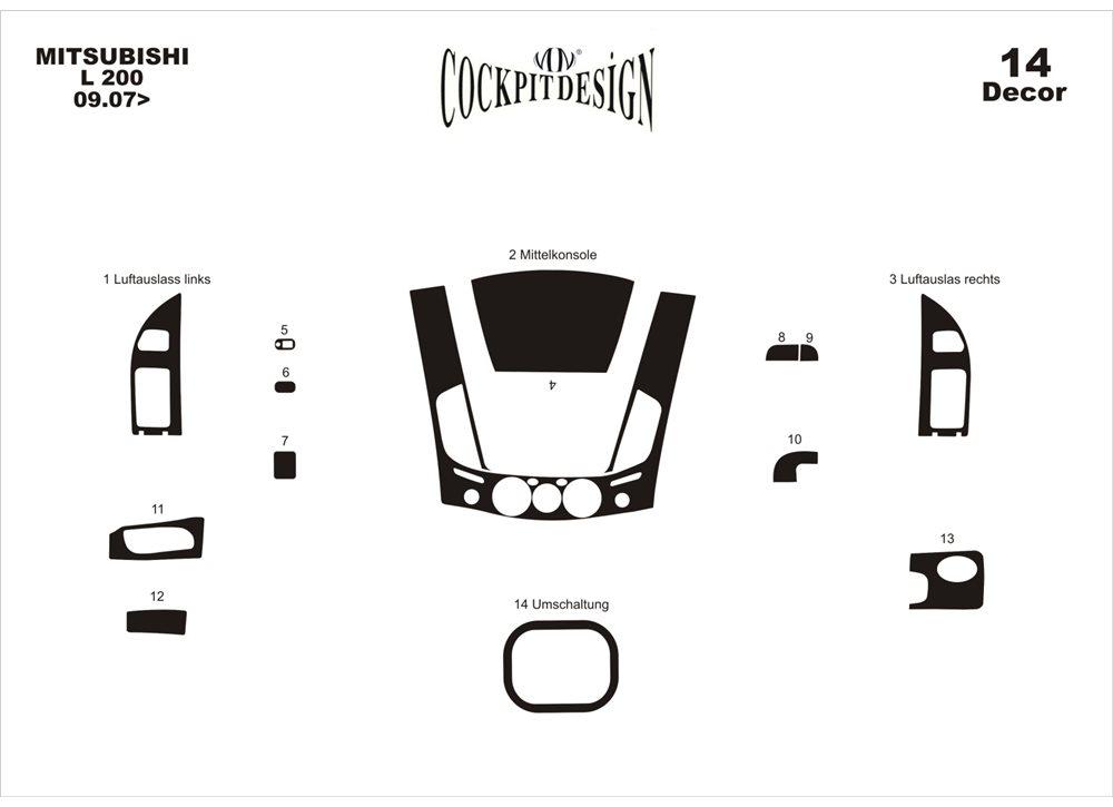 Mitsubishi L200 2006-2015 Накладки на панель (14 частей