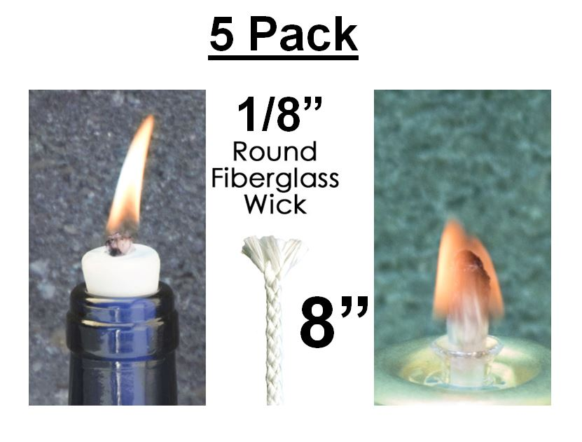 """1//4/"""" x 8/"""" Fiberglass Replacement Tiki Torch Wicks Oil Bottle Lamps Round Candles"""
