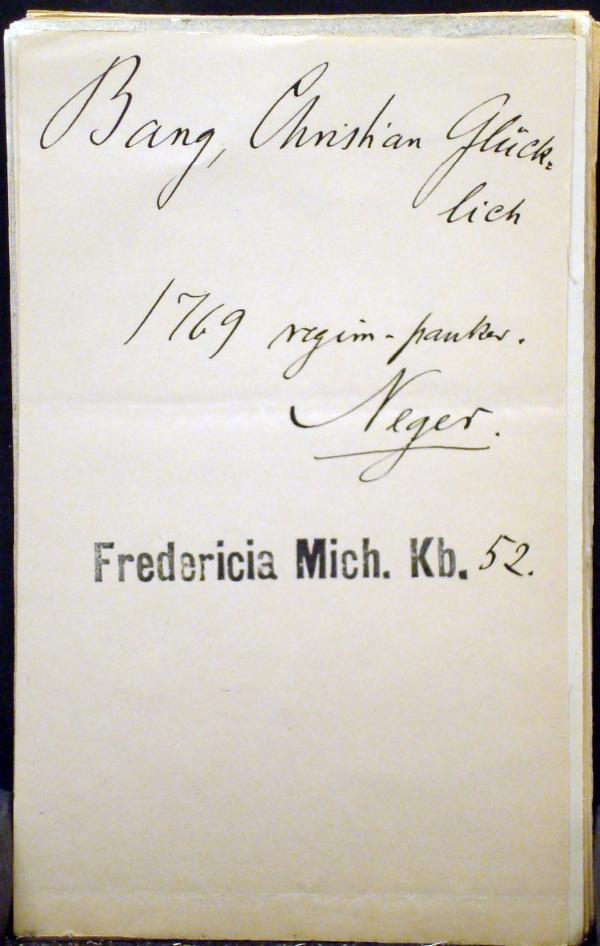 Bang, Christian Glücklich 1769 regiment timpanist Negro
